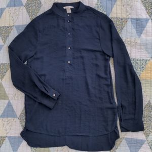 H&M Button Up Blouse with Gold Buttons, XS, Navy